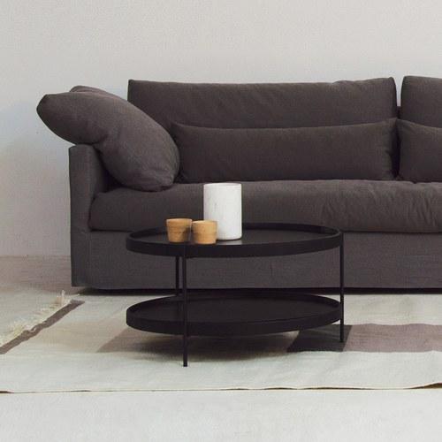 丹麥Sketch 立體邊緣雙層圓形茶几 (黑、直徑69cm)