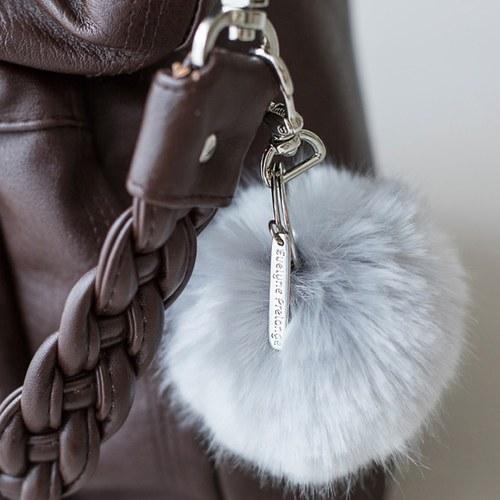 法國EvelynePrelonge 白灰色圓球鑰匙鍊