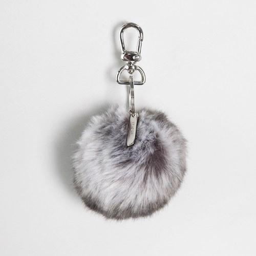 法國EvelynePrelonge 深咖啡條紋圓球鑰匙鍊