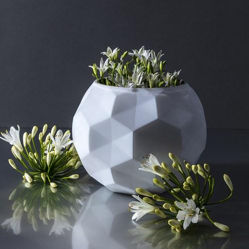 德國KARE 水晶寶石切面花器 (白、高14公分)