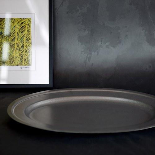 日本Aoyoshi 不銹鋼橢圓形餐盤 (銀、長26.8公分)