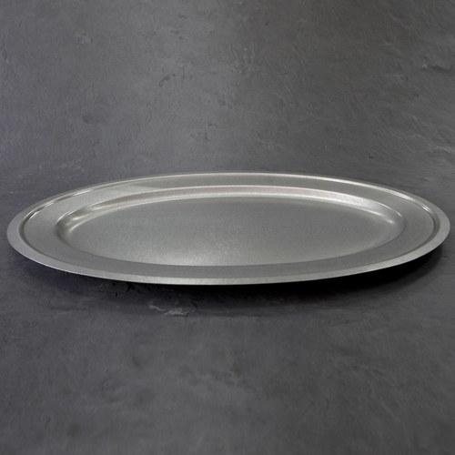 日本Aoyoshi 不銹鋼橢圓形餐盤 (銀、長56公分)