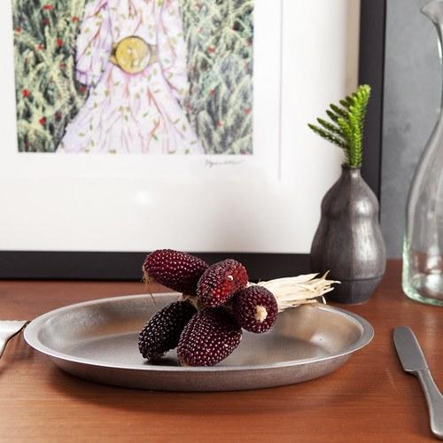 日本Aoyoshi 不銹鋼橢圓形餐盤 (銀、長25.5公分)