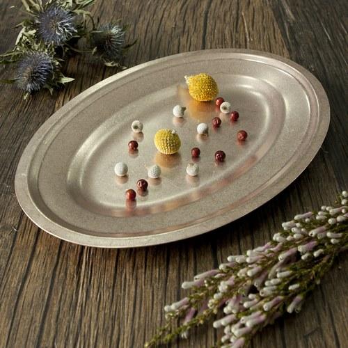 日本Aoyoshi 不銹鋼橢圓形餐盤 (玫瑰金、長19.7公分)