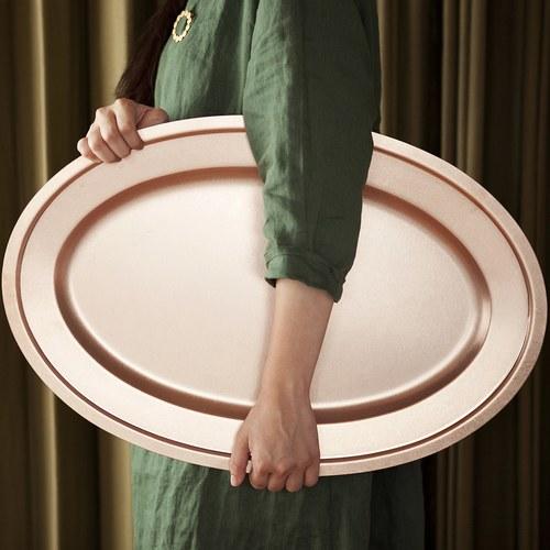 日本Aoyoshi 不銹鋼橢圓形餐盤 (玫瑰金、長46公分)