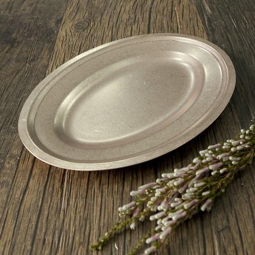 日本Aoyoshi 不銹鋼橢圓形餐盤 (玫瑰金、長35.7公分)
