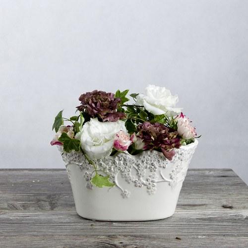 日本Clay 白色垂櫻寬版花器 (高12公分)
