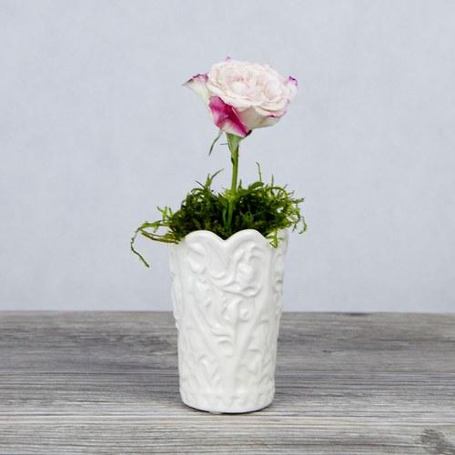 日本Clay 波浪造型雕花花器 (白、高9公分)
