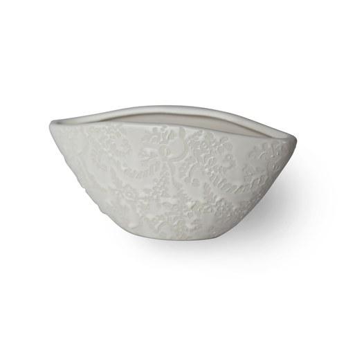 日本Clay 船型雕花花器 (白、高8.5公分)