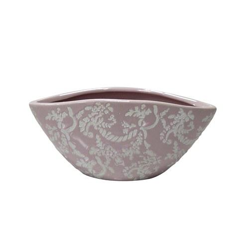 日本Clay 船型雕花花器 (粉、高8.5公分)