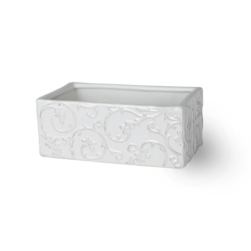 日本Clay 粉彩花紋長方型花器 (長14公分)