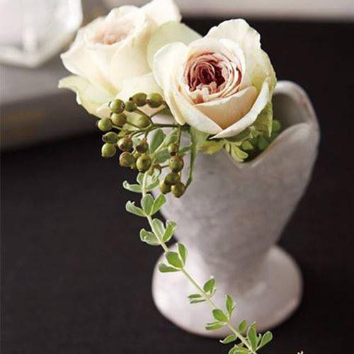 日本Clay 堅定的愛花器 (白灰、高12公分)