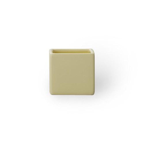 日本Clay 簡約素色方形花器 (黃、高7.5公分)