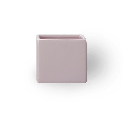 日本Clay 簡約素色方形花器 (藕粉、高9公分)