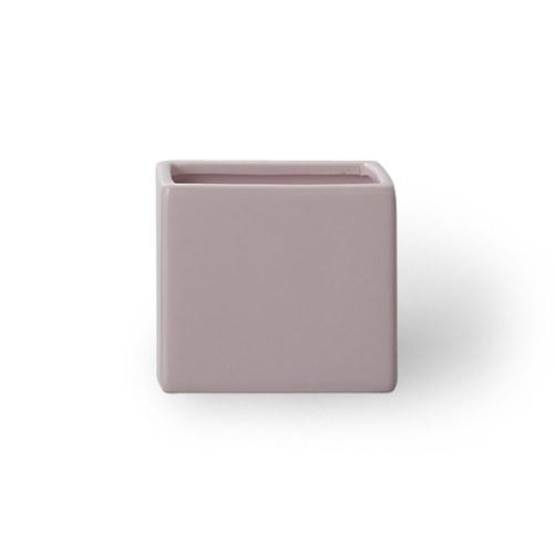 日本Clay 簡約素色方形花器 (嫩粉、高9公分)