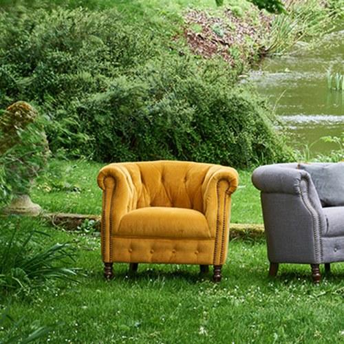 英國Alexander&James 古典天鵝絨單人沙發 (薑黃)