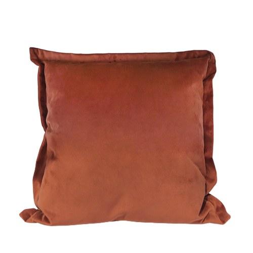 英國 Alexander&James 手工絨布方形靠枕 (磚紅、69公分)
