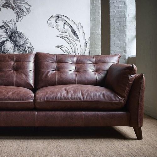 英國Alexander&James 紳士格線皮革三人沙發 (酒紅褐)