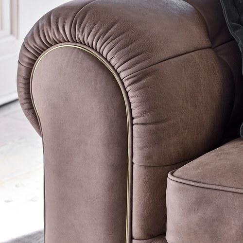 英國 Alexander&James 爵士詠嘆調皮革四人沙發 含抱枕 (灰褐)