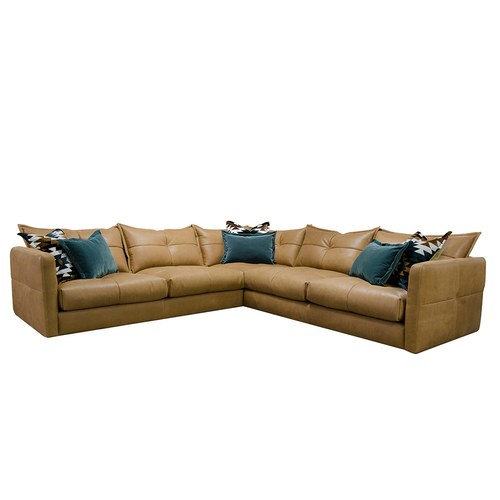 英國 Alexander&James 不列顛的紳士聚會皮革L型沙發 含抱枕 (駝色)