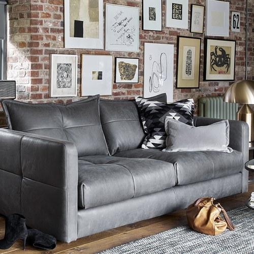 英國 Alexander&James 不列顛的紳士聚會皮革三人沙發 含抱枕 (石墨)