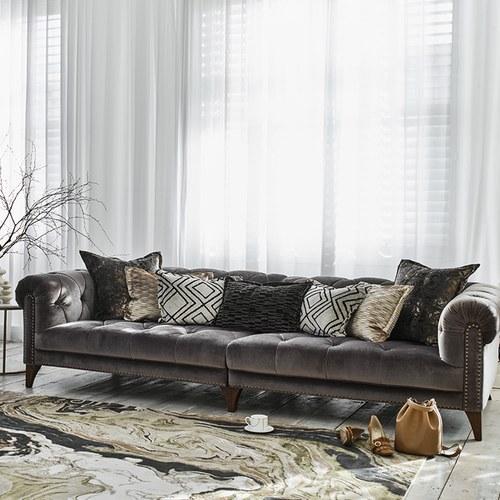 英國 Alexander&James 蘇格蘭晨醒時分天鵝絨四人沙發 含抱枕