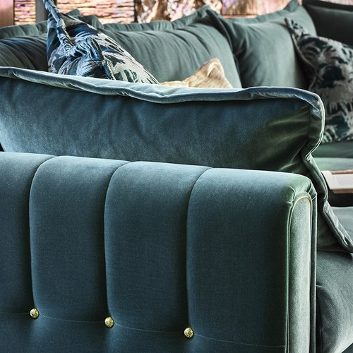 英國 Alexander&James 浪漫英倫天鵝絨L型沙發 含抱枕  (墨綠)