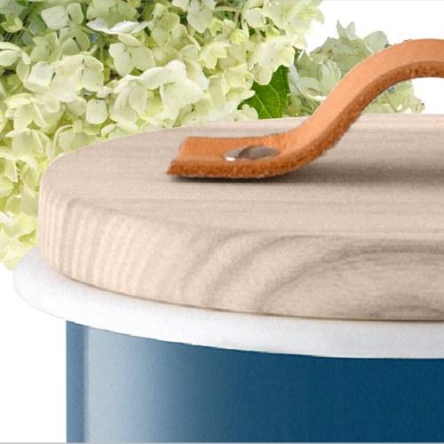 英國LSA 木蓋琺瑯儲物罐 (藍、直徑14公分)