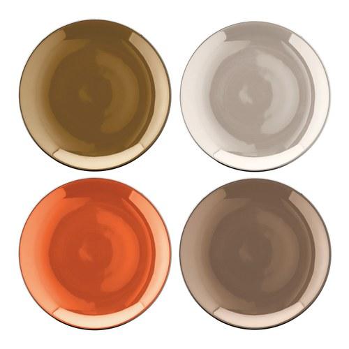英國LSA 霓彩四色點心瓷盤4入組 (茶棕)