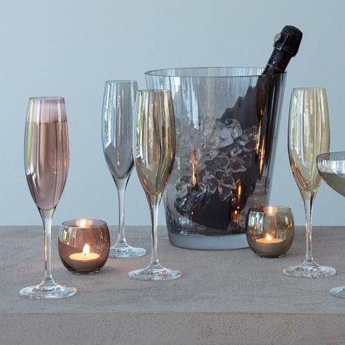 英國LSA 霓彩四色香檳杯4入組 (茶棕)