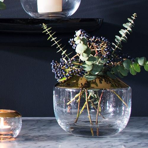 英國 LSA 金屬光口雙色玻璃花器(渲染金、高15公分)