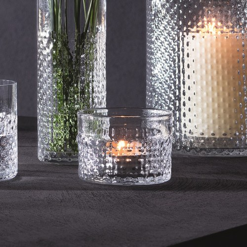 英國LSA 編織摺紋玻璃燭台 (透明)