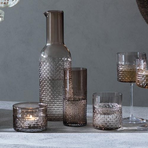 英國LSA 編織摺紋玻璃酒杯2入組 (棕、400毫升)