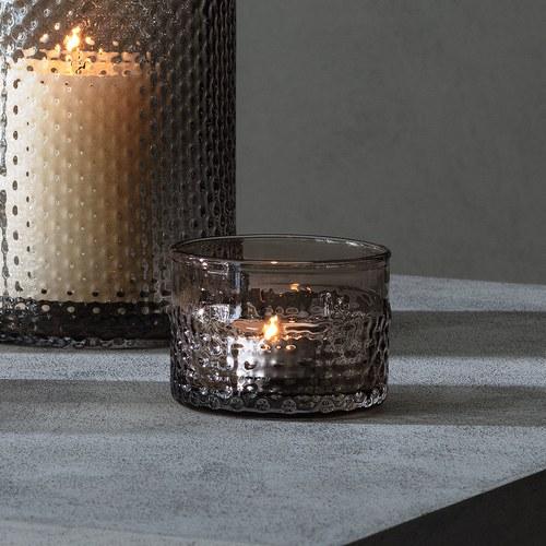 英國LSA 編織摺紋玻璃燭台 (棕)