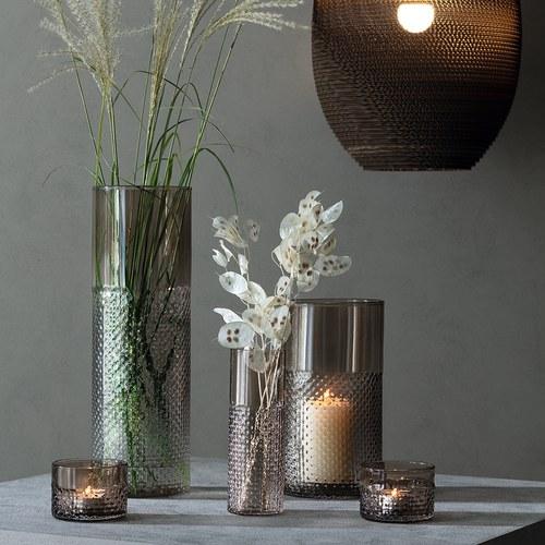 英國LSA 編織摺紋玻璃花器 (棕、高40公分)