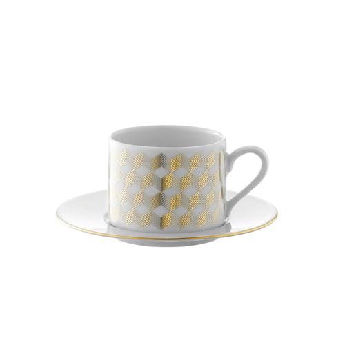 英國LSA 金絲彩帶午茶杯盤4入組 (250毫升)