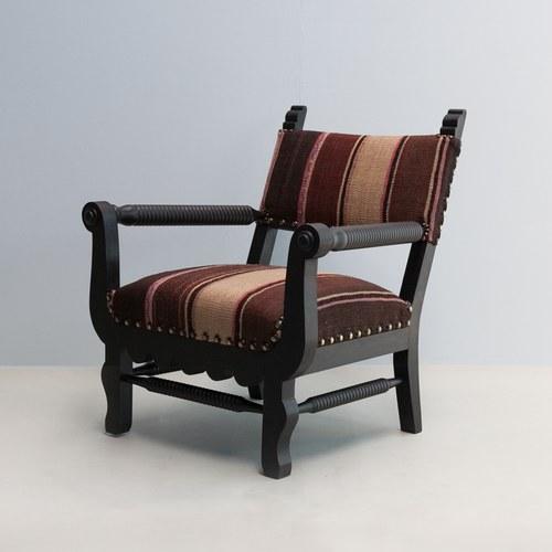 比利時du long et du le 藝術風條紋單人扶手椅