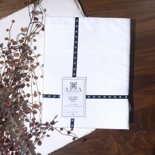 葡萄牙Amalia 亞麻白色床包 ( 雙人標準、Coracao )