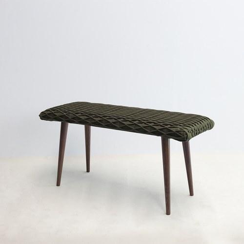 葡萄牙BUREL 立體菱格紋長椅凳 (軍綠)
