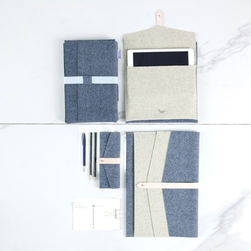 葡萄牙BUREL 信封式收納筆袋 (牛仔藍)
