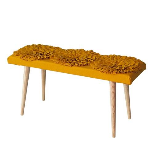 葡萄牙BUREL 立體花長椅凳 (橘黃)