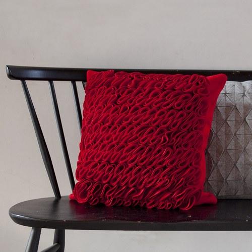 葡萄牙BUREL 華麗海草皺褶方形抱枕 (紅)