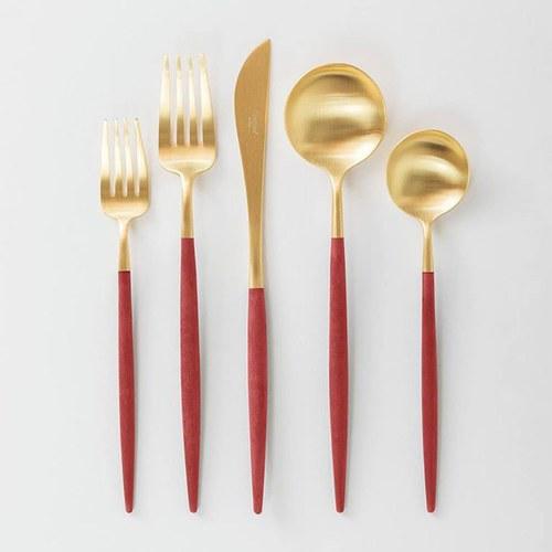 葡萄牙Cutipol 頂級GOA餐具組 (紅x霧金)