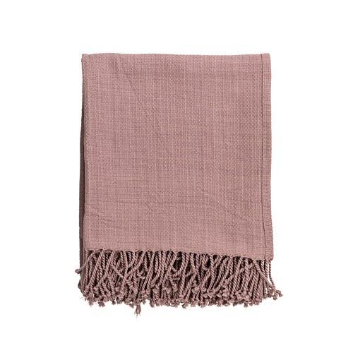 丹麥Bloomingville 粉色毛邊披毯