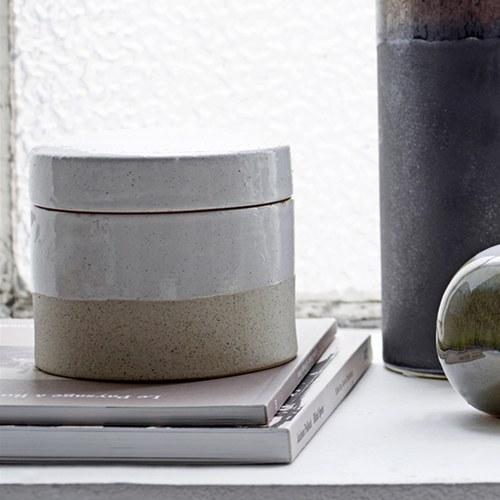 丹麥Bloomingville 禪風陶製雙色儲物罐 (白、直徑14公分)