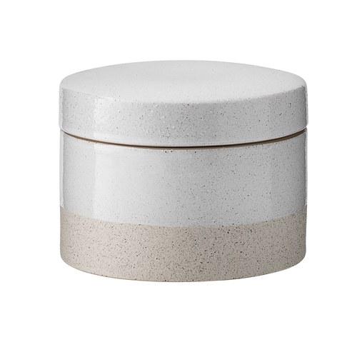 丹麥Bloomingville 禪風陶製雙色儲物罐 (白、直徑11.5公分)