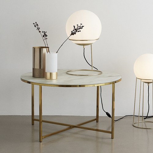 丹麥Hubsch 大理石紋圓形桌几 (白、直徑80公分)