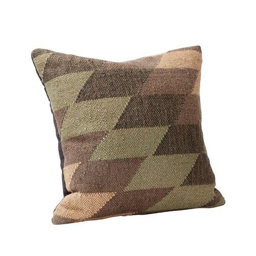 丹麥Hubsch 粉彩磚紋方型靠枕