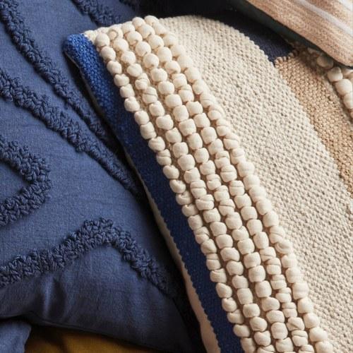 丹麥Hubsch 民族風編織方型靠枕 (藍)