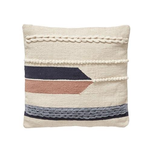 丹麥Hubsch 民族風編織方型靠枕 (粉)